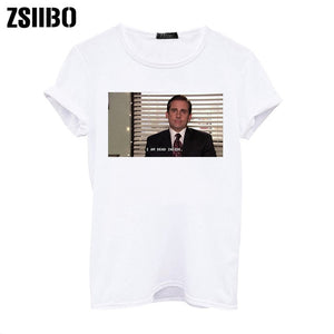 I Am Dead Inside Quotes Funny t-shirt The Office Michael Scott T-Shirt Unisex Tumblr Grunge Fashion White Tee dro shippping