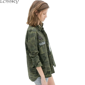 Ms. GCAROL new camouflage shirt asymmetrical long-sleeved jacket