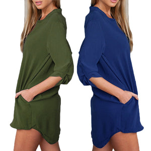 5XL Plus Size Tunic Women Chiffon Shirt V Neck Pockets Roll up Long Sleeves Asymmetrical Solid Loose Casual Blouse Shirt female