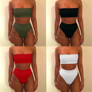 Sexy Women High Waist Swimsuit Bikini Bandeau Thong Plus Size Swim Wear For Women 2018 Biquinis Swimming Suit Bathing Biquini