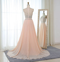 Fashion Blush Pink Prom Dress 2019 Crystal Beaded Top Tulle Elegant Long Prom Gown Show Waist Sweep Train Plus Size Cheap Dress