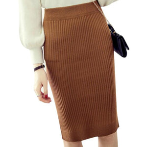 Vintage Winter Skirts Women Stretch Woolen Pencil Skirt High Waist Office Lady Bodycon Skirts Saias Knee-Length Skirt Jupe ZY406