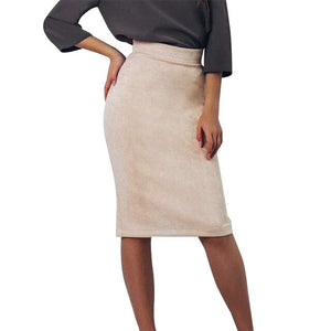 Vintage Suede Split Bodycon Skirt Women 2018 Winter High Waist Knee-Length Pencil Skirts Elegant Office Lady Skirt Jupe Femme