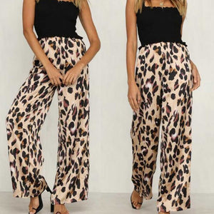 New Ladies Women Pants Animal Leopard Print Wide Leg Trousers Fashion Loose High