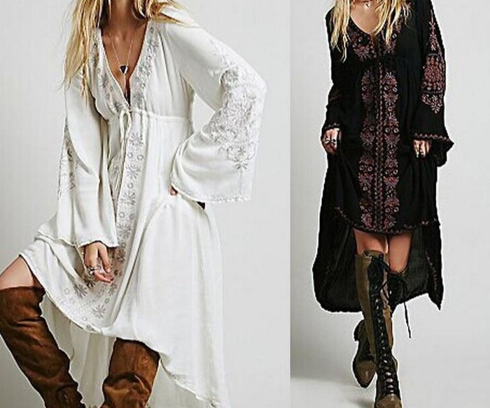 High Low Vintage Flower Embroidered Cotton Tunic Maxi Dress