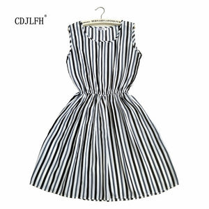 2018 Love Vintage Sexy Pocket White Dress Striped Female Summer New