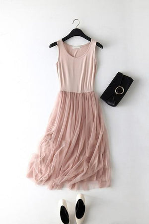 2019 New Sexy Spaghetti Strap Patchwork Mesh Dress Spring Summer Women Gauze Lace Tank Dress Basic Sundress Party Vestidos