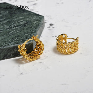 Peri'sBox Gold Color Small Twisted Hoop Earrings for Women Hollow Ear