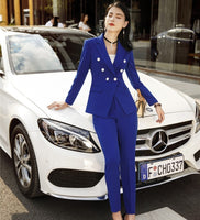 Fashion Ladies Blue Formal OL Style Women Business Suits With Pants and Jackets Coat