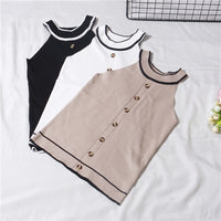 Summer Girls Fashion Slim Knitting Striped Tank Crop Tops Camises Girls Knitted