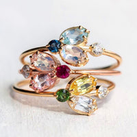 9 PCS/Set Green Blue Color Stone Rings Set for Women Gold Wave Crystal Boho Midi Carved Geometric Knuckle Fashion Jewelry