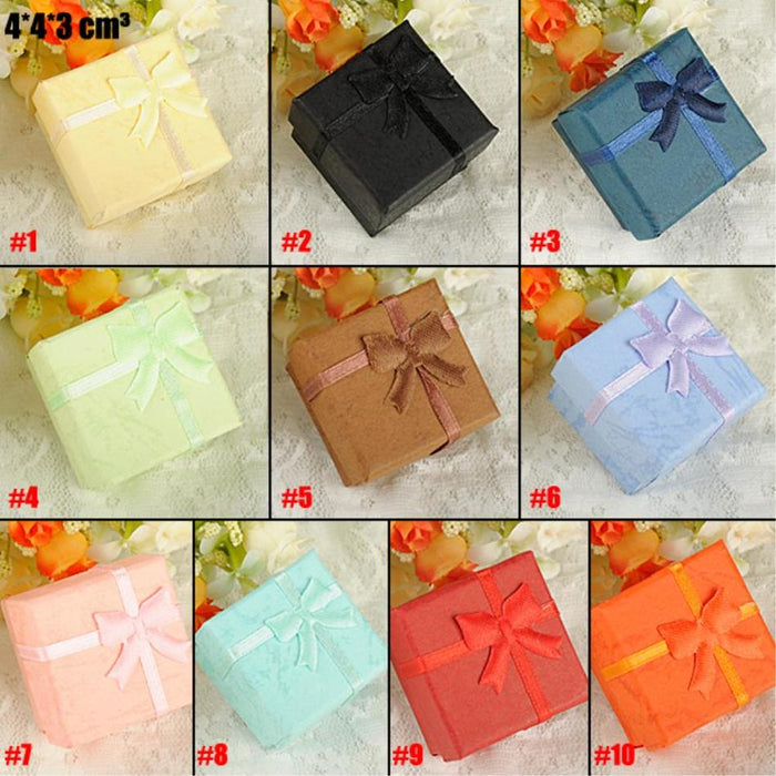 Cheap Sale 4*4*3cm Jewelry box boite a bijoux Bowknot paper storage Packing gift Display Box for Jewelry Necklace Ring Earring
