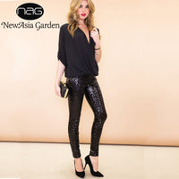 NewAsia Bling Trousers Women High Waist Sequin Pants Women Basis Slim Fit Pencil Pants Silver Sparkle Metallic Glitter Pants New