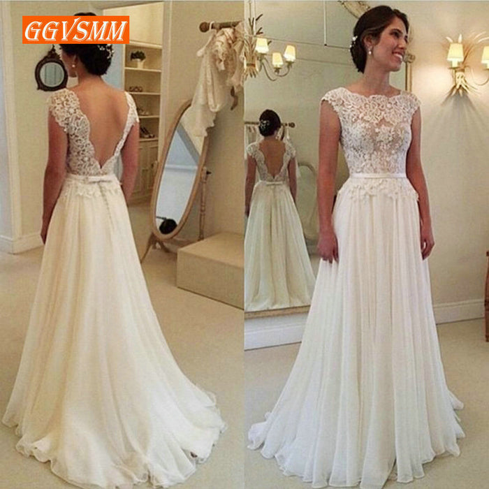 Ivory Wedding Dresses Long Pink Wedding Gowns For Women Scoop Lace Backless