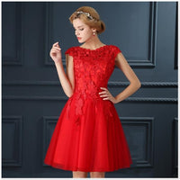 LOVONEY T402 Short Prom Dresses 2019 Elegant A-Line Red Prom Dress Gown