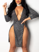 Hot Sexy Women Sequin V Neck Wrap Sparkly Sequin Glitter Dress Ladies Bodycon Shiny Gown Sexy Club Party Dress
