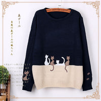 2019 New Women Sweater Autumn & Winter The Cartoon Cat Small Embroidery Knit Sweater Women Round Neck Long Sleeve