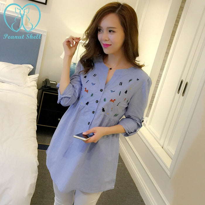 6002# Waist Pleated Embroidery Cotton Maternity Shirt Summer & Spring Blouse Tops