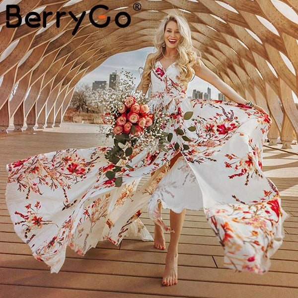 BerryGo Bohemian floral print women dress Elegant V neck