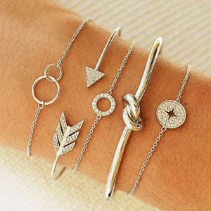 DIEZI Bohemian Arrow Knot Compass Cuff Bangle Bracelets Women Girls