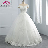 Sequin Lace Embroidery Beading Pretty Princess Wedding Dress 2019