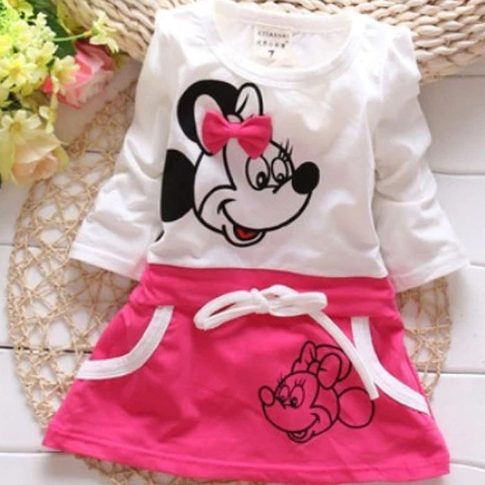 Fashion Trend 2019 Spring Summer Girls Lovely Princess Dress Children Cartoon Image Stitching Bow-knot Dress Kids Cute Clothes
