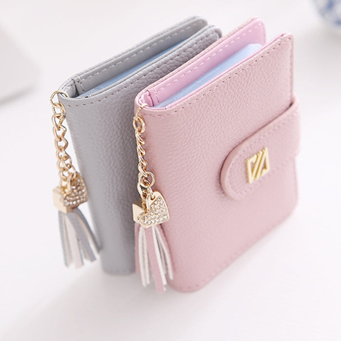 22 Card Slots Heart Tassel Pendant Faux Leather Women's Car Holder Bag Wallet
