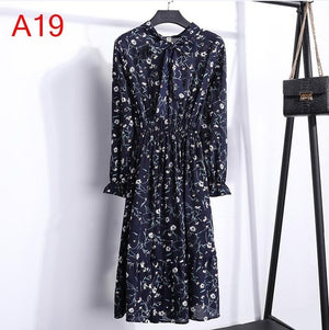Autumn Chiffon Shirt Dresses Office plaid Polka Dot Vintage Dresses Women