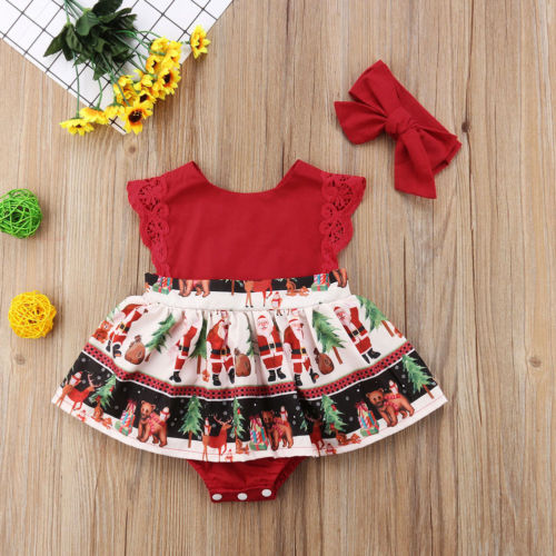 2Pcs Xmas Infant Kids Baby Girls Romper Dress+Headband Christmas Party Outfit