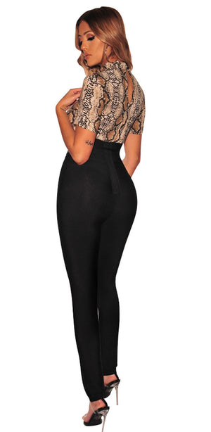 SEBOWEL 2019 Woman Nude Snake Print Short Sleeve Bodysuit Summer Sexy Wild Style Female Bodycon Bodysuits for Ladies Body Tops