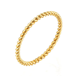 Round Rings For Women 1.5mm Thin Rose Gold/Silver/Gold Color Twist Rope
