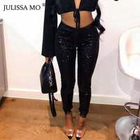 JULISSA MO Glitter Sequin Trousers Women Sparkly Sexy High Waist Pencil Pants 2019 Fashion Christmas Bodycon Leggings Plus size