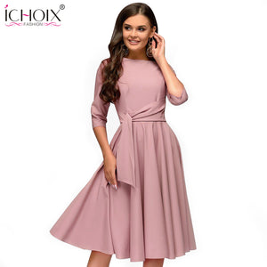 Spring summer women casual dresses elegant a line solid dress ladies
