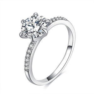 New large cubic zirconia ring wedding engagement ring ladies ring silver ring