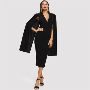 Black Cape Sleeve Deep V Neck Shawl Surplice Collar Split Hem Pencil Bodycon