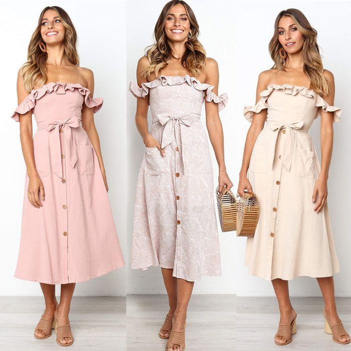 Backless Sexy Women Summer Dress 2019 Ruffles Off Shoulder Beach Dress Buttons Strapless Long Sundress Boho Midi Dress Ladies