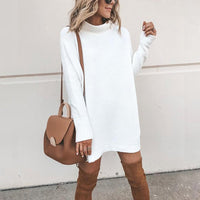 Danjeaner New Spring Turtleneck Solid Knitted Sweaters Dress Women Long Sleeve Slim Streetwear Pullovers Oversized Sweater Pull