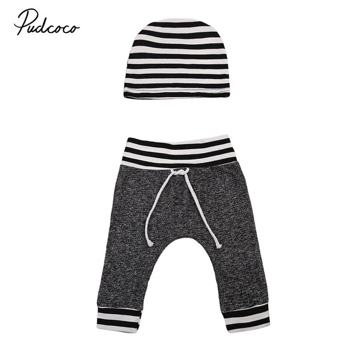 2017 Toddler Infant Newborn Baby Boy Girls Outfits Gray Pants with Hat 2PCS 0-6Months