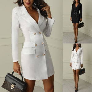 Autumn Winter Suit Blazer Women New Casual Double Breasted Pocket Women Long Jackets Elegant
