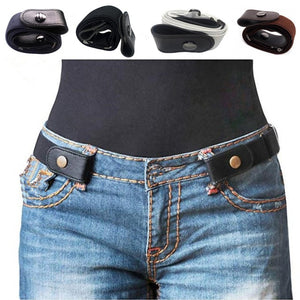 Buckle-Free Belt For Jean Pants,Dresses,No Buckle Stretch Elastic Waist Belt For Women/Men,No Bulge,No Hassle Waist Belt