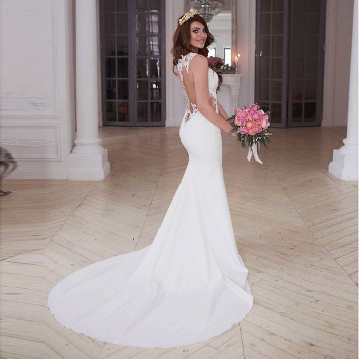 LORIE Mermaid Wedding Dresses Scoop Appliques Lace Beach Bride Dress