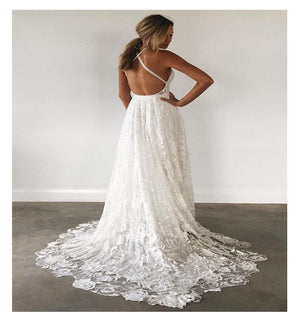 LORIE Halter Lace Beach Wedding Dress 2019 Elegant A Line Backless Floor Length