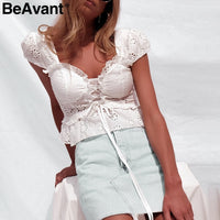BeAvant Vintage lace up v neck peplum blouse shirt top Female high waist white blouse Ruffle cotton lace blouse ladies blusas