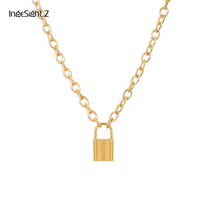 IngeSight.Z Simple Gold/Silver Color Lock Pendant Necklace Statement Long Chain Necklace for Women Jewelry Bff Necklace Gifts
