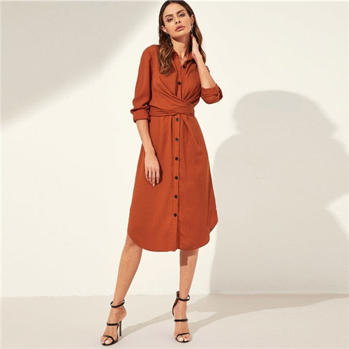 Sheinside Orange Knot Back Curved Hem Shirt Dress Women Long Sleeve