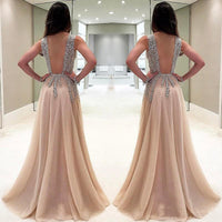 Long Prom Dresses 2019 Sexy Deep V neck Side Split Evening Gowns Formal