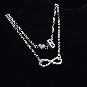 New Fashion silver multi-layer heart 26 letters 8 words pendant Bracelets