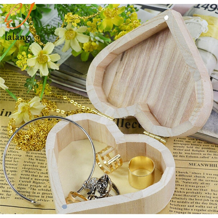 2018 New Arrive Storage Boxes Heart Shape Wood Box Jewelry Box Wedding Gift Home Storage Bin Earrings Ring box