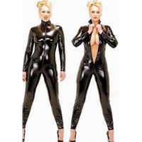 Black wetlook Faux Leather Long Sleeve Open Crotch pvc Catsuit with Zipper
