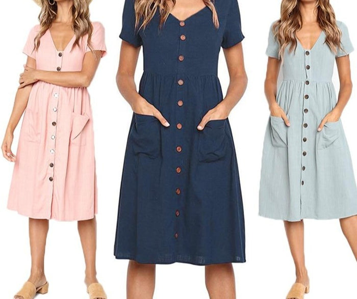 Red Blue A Line Casual Dresses Women Summer Dress 2019 beach Vintage Dress For Ladies V Neck Pocket Buttons Midi sundress Female